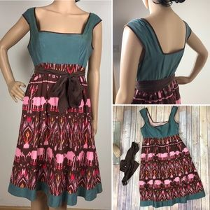 Anthropologie Diodore Elephant Silk Brown Dress